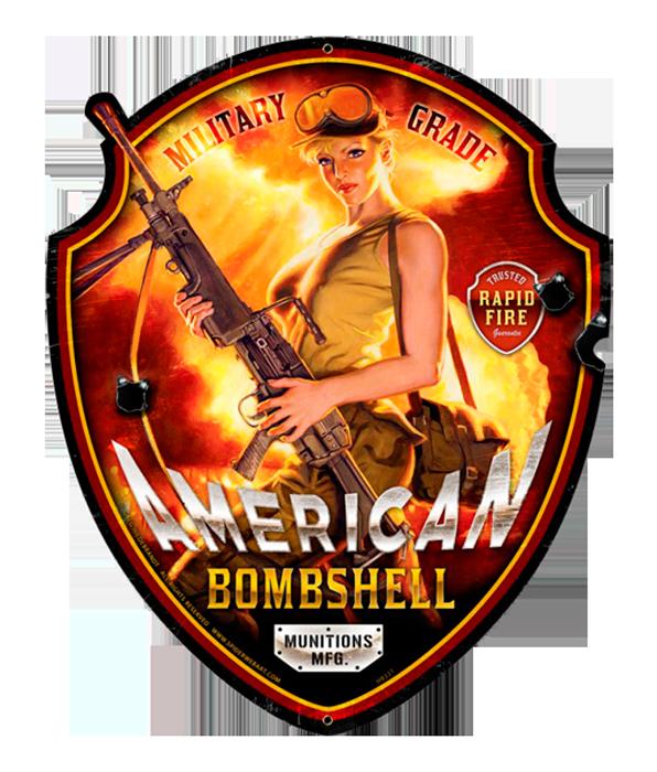 American Bombshell Shaped Hildebrandt Vintage Metal Sign PINUP Garage Art SIGNED