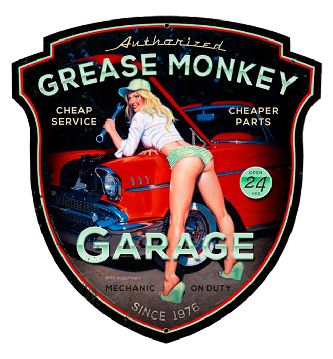 Grease monkey vintage tin sign shaped tin signs for Location plaque garage